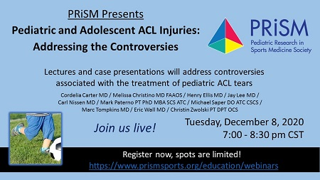 Upcoming Webinar: An Algorithmic Approach to the Controversies in Pediatric and Adolescent Anterior Cruciate Ligament Tears